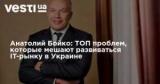 Анатолий Бойко: ТОП проблем, которые мешают развиваться IT-рынку в Украине